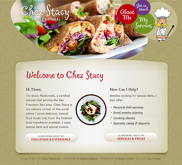 A screenshot of the Chez Stacy homepage