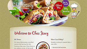 A screenshot of the new Chez Stacy website