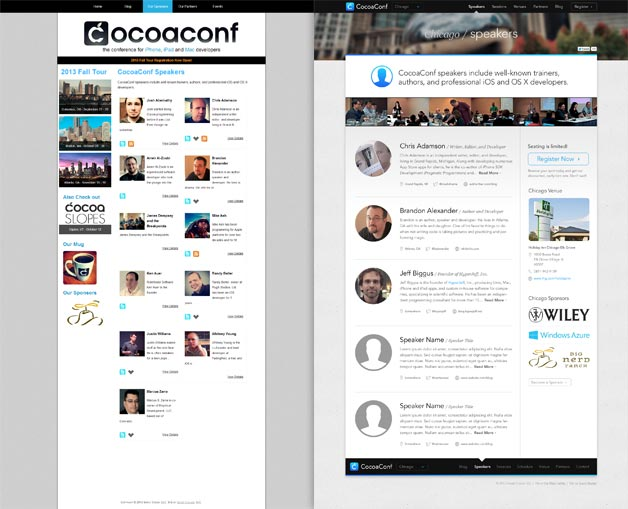 A screenshot of the CocoaConf website