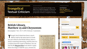 A screenshot of the new Evangelical Textual Criticism blog