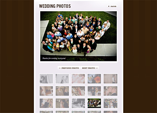 A screenshot of the Gurry Wedding website