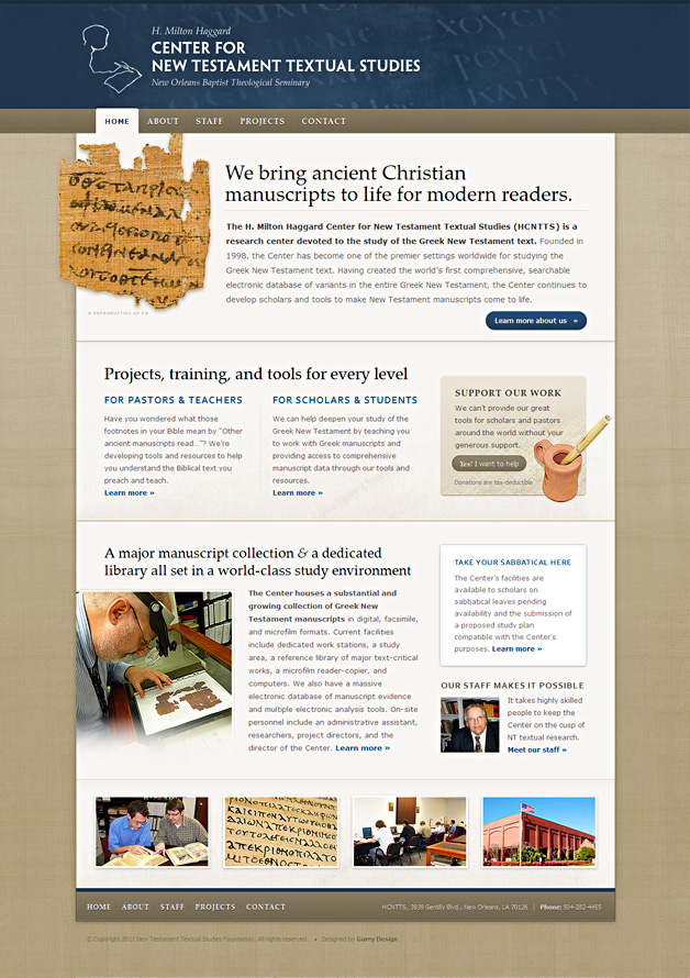 A screenshot of the H. Milton Haggard Center for New Testament Textual Studies homepage