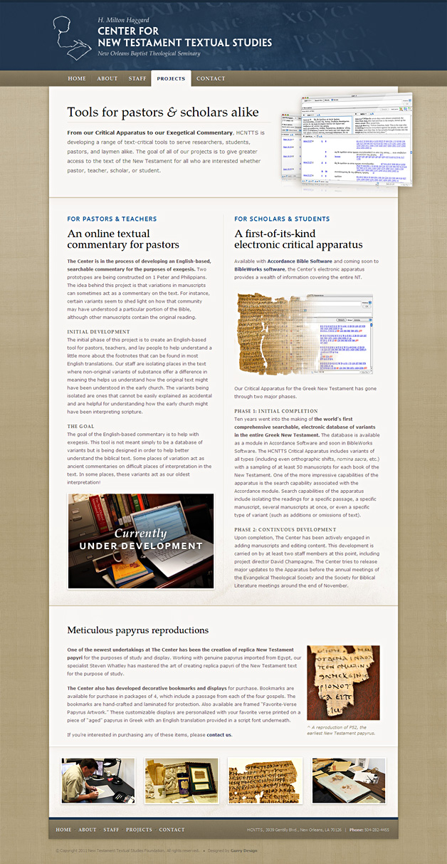 A screenshot of the H. Milton Haggard Center for New Testament Textual Studies website