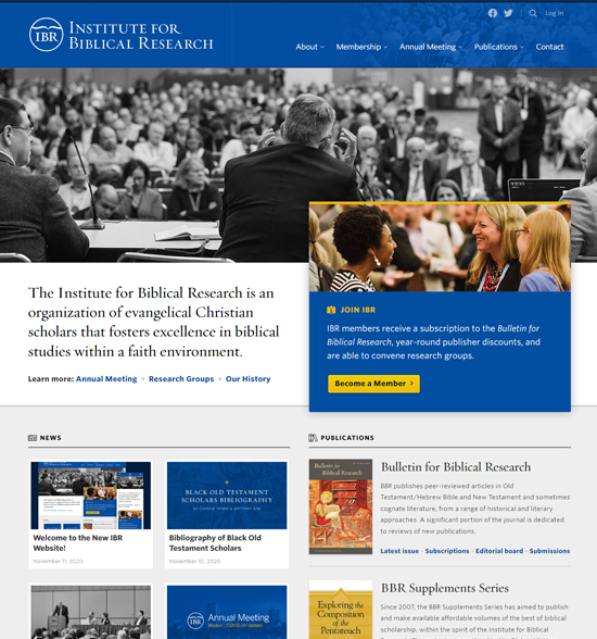 The new website for the Institute for Biblical Research