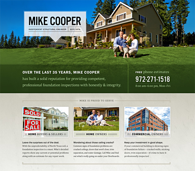 An alternate design of the Mike Cooper website.