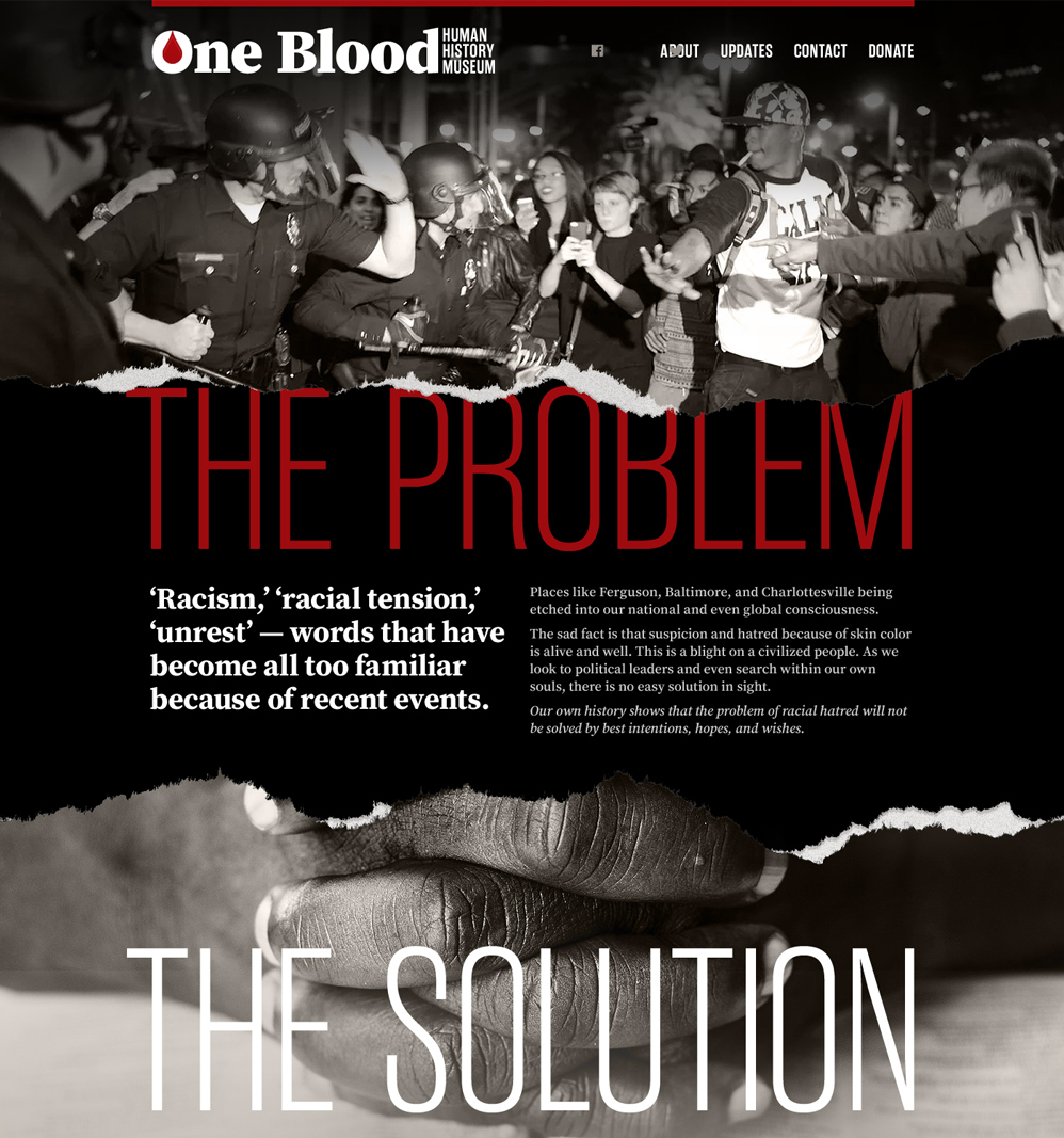The new website for the One Blood Human History Museum