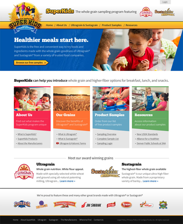 A screenshot of the 2014 updated SuperKids homepage