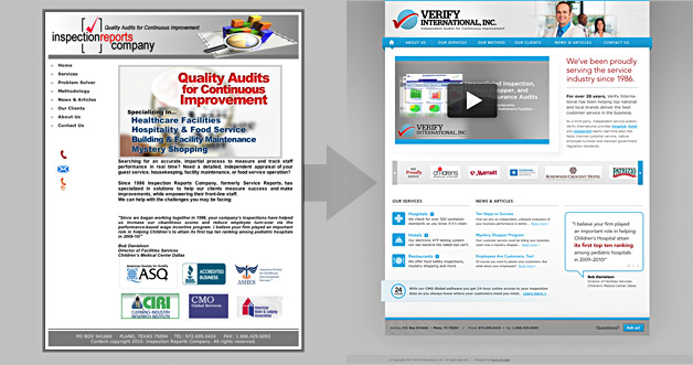 A screenshot of the Verify International website before and after the redesign