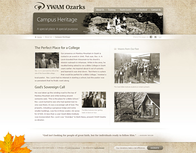A screenshot of the YWAM Ozarks website