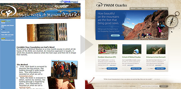 A screenshot of the YWAM Ozarks website before and after