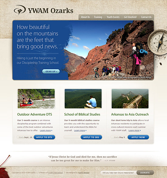 A screenshot of the new YWAM Ozarks homepage
